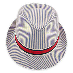 Rising Star Seersucker Fedora in Blue/White
