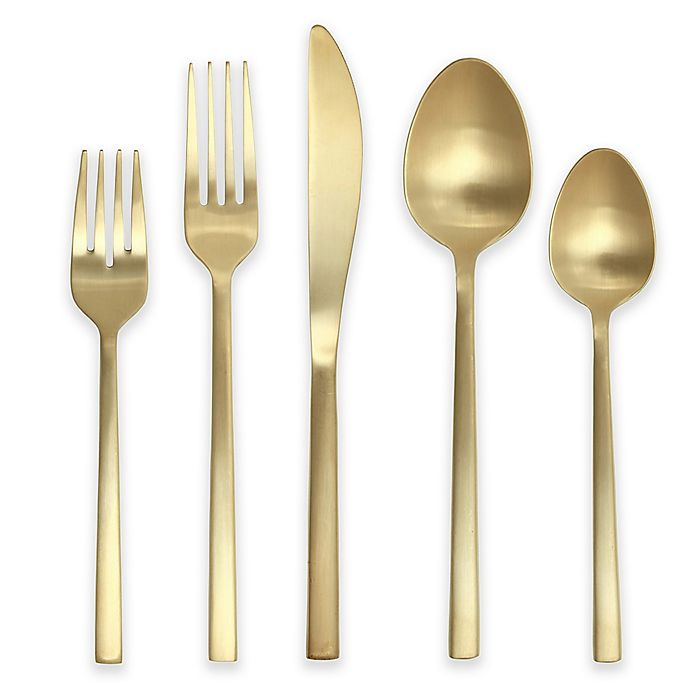 Alternate image 1 for Fortessa Arezzo 5-Piece Place Setting in Brushed Gold