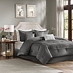 Madison Park Trinity 7-Piece Reversible Queen Comforter Set in Grey