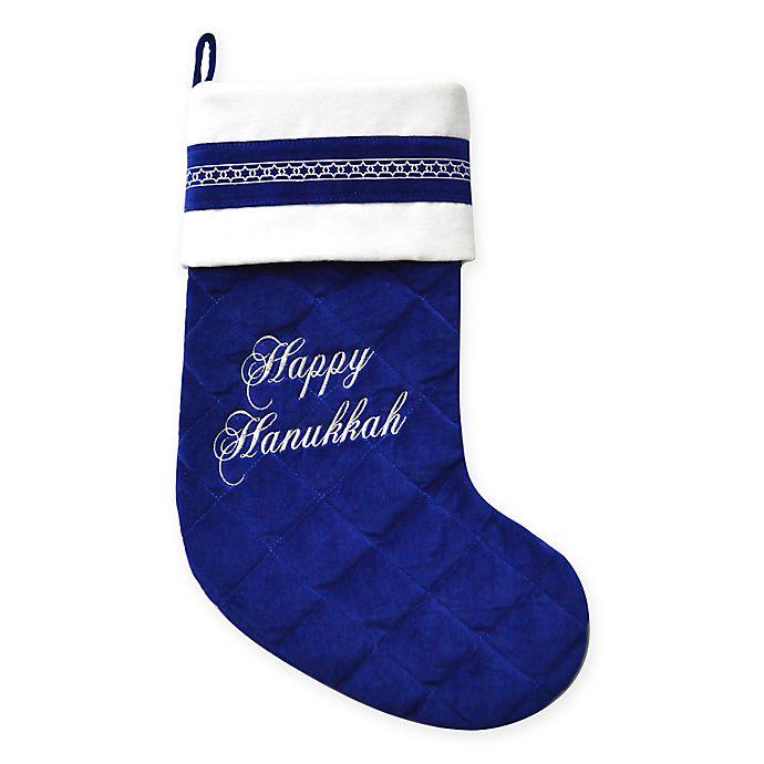 Hanukkah Christmas Stocking.Harvey Lewis Quilted Velvet Swarovski Happy Hanukkah