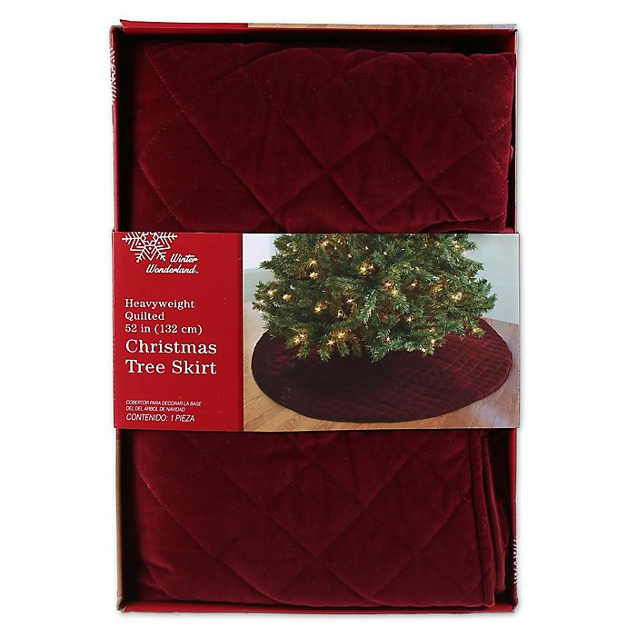 Alternate image 1 for Quilted Velvet Christmas Tree Skirt in Burgundy