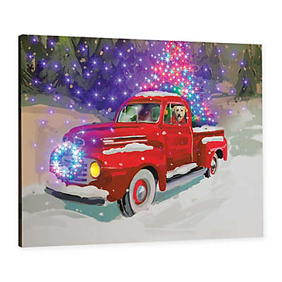 Holiday Drive Fiber Optic Wall Canvas with Remote Control
