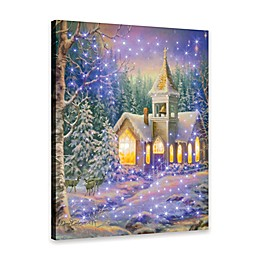 Winter Chapel Fiber Optic Wall Canvas with Remote Control