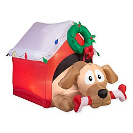 44-Inch Inflatable Outdoor Animated Dog in Presents with Candy Cane Bone