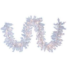 Kurt Adler 9-Foot Crystal White Pre-Lit Christmas Garland with Clear Lights