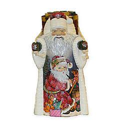 Kurt Adler Czar Treasures 11.5-Inch Wooden Santa with Backpack in White/Red