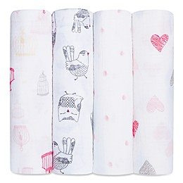 aden + anais® 4-Pack Lovebird Muslin Swaddle Blanket Set