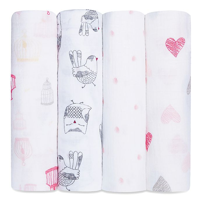 Alternate image 1 for aden + anais® 4-Pack Lovebird Muslin Swaddle Blanket Set