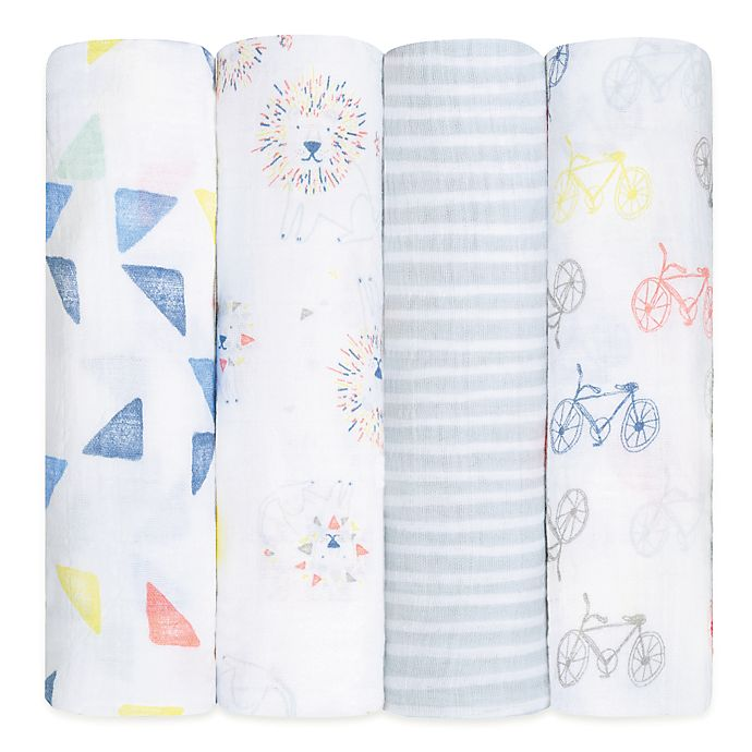 Alternate image 1 for aden + anais® Leader of the Pack Cotton 4-Pack Swaddle Blanket