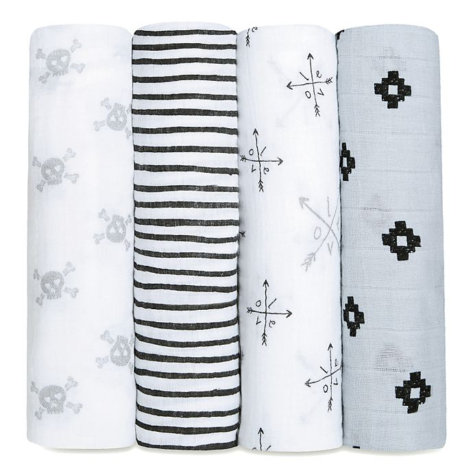 Alternate image 1 for aden + anais® 4-Pack Lovestruck Muslin Swaddle Blanket Set