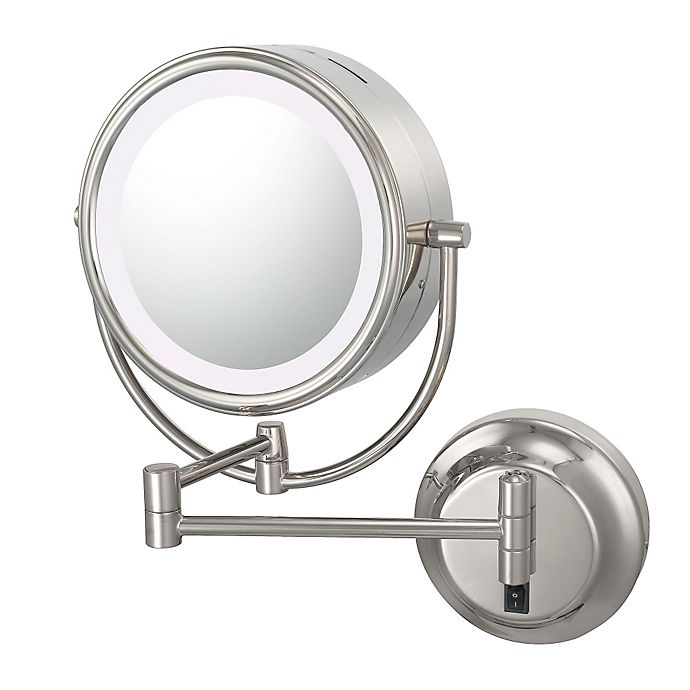 Alternate image 1 for Kimball & Young Neo Modern 1x/5x Warm-Light LED Makeup Mirror in Polished Nickel