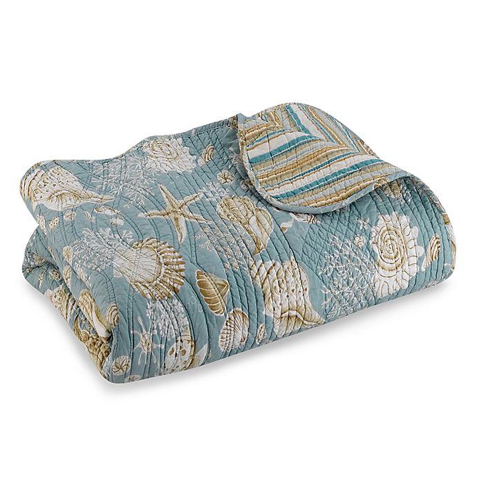 Alternate image 1 for Natural Shells Reversible Quilt in Blue/Beige