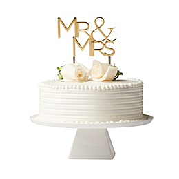 "Olivia & Oliver™ ""Mr. & Mrs."" Cake Topper in Polished Gold"