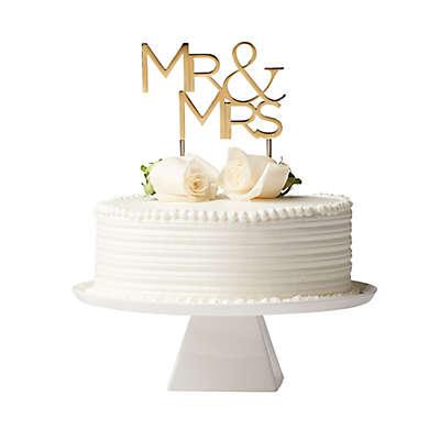 """Olivia & Oliver  """"Mr. & Mrs."""" Cake Topper in Polished Gold"""
