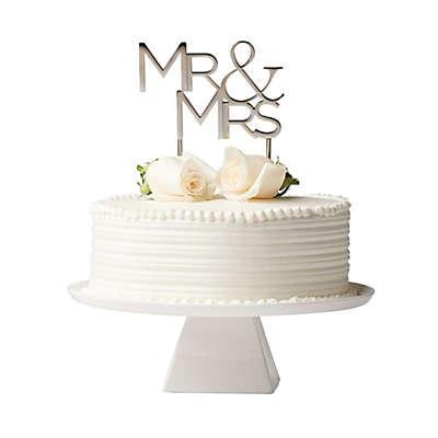 "Olivia & Oliver ""Mr. & Mrs."" Cake Topper in Silver"