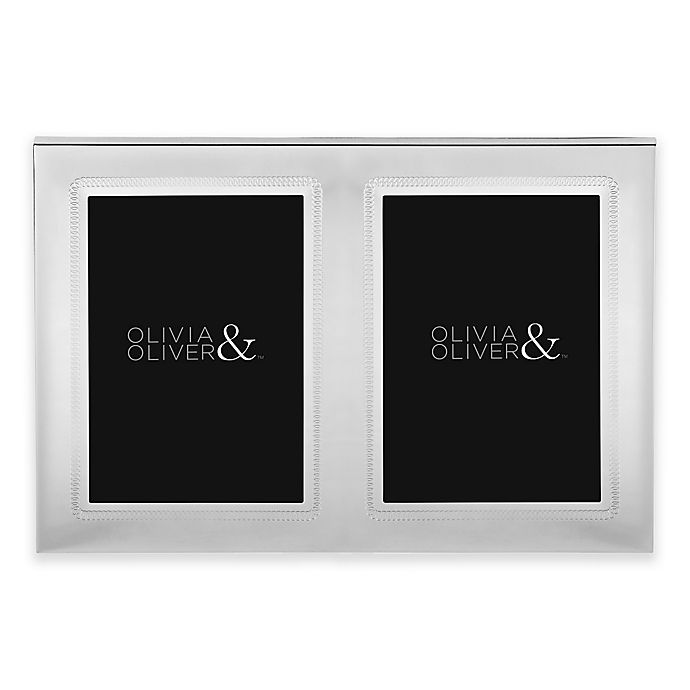 Alternate image 1 for Olivia & Oliver® Parker 5-Inch x 7-Inch Silver Plated Double Invitation Picture Frame