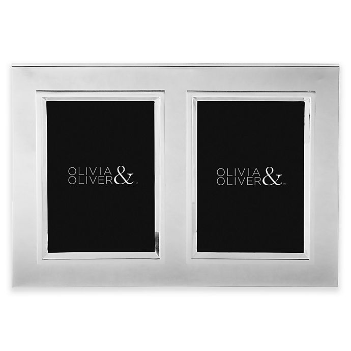 Alternate image 1 for Olivia & Oliver Madison 5-Inch x 7-Inch Silver Plated Double Invitation Picture Frame