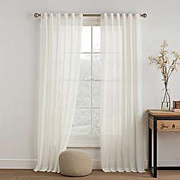KAS ROOM Carina Sheer Rod Pocket Window Curtain Panel in Ivory
