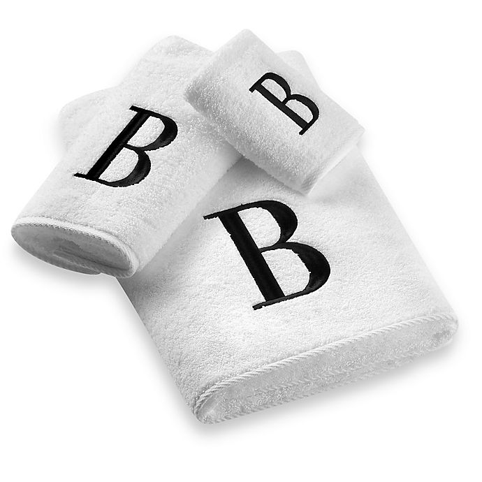 Alternate image 1 for Avanti Black Monogram on White Bath Towels