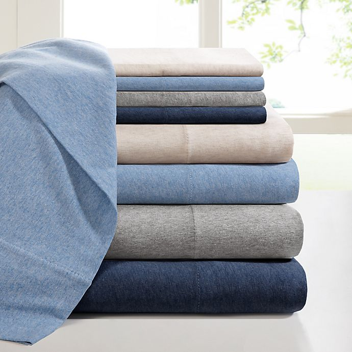 Alternate image 1 for INK+IVY Heathered Cotton Jersey Knit Sheet Set