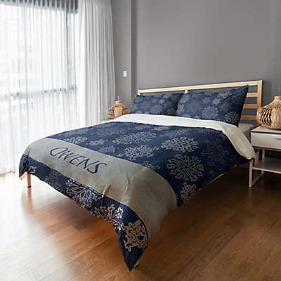 Snowflake Duvet Cover in Blue/Silver