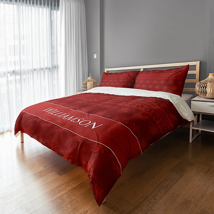 Alternate image 1 for Holiday Snowflakes Duvet Cover in Red