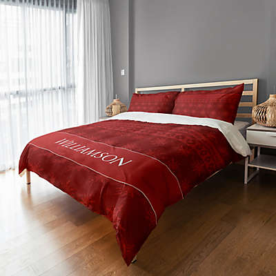 Holiday Snowflakes Duvet Cover in Red