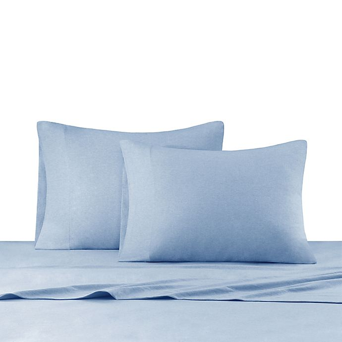 Alternate image 1 for INK+IVY Heathered Cotton Jersey Knit Sheet Set Full in Blue