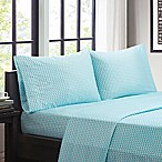 Intelligent Design Chevron Microfiber Queen Sheet Set in Aqua