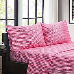 Intelligent Design Chevron Microfiber Twin XL Sheet Set in Pink
