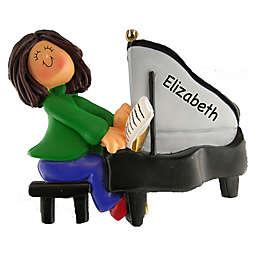 Female Piano Player Christmas Ornament
