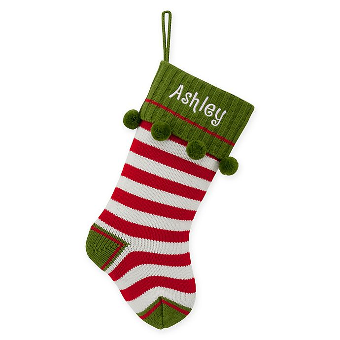 Alternate image 1 for 20-Inch Striped Knit Christmas Stocking in Red