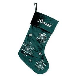 Velvet Snowflake 20-Inch Christmas Stocking in Green