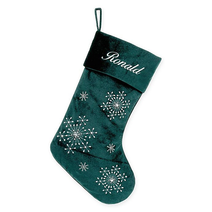 125ef51b857fda Velvet Snowflake 20-Inch Christmas Stocking in Green | Bed Bath & Beyond