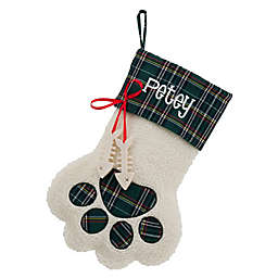 Puppy Paws 15-Inch Christmas Stocking with Fish Bone in Green