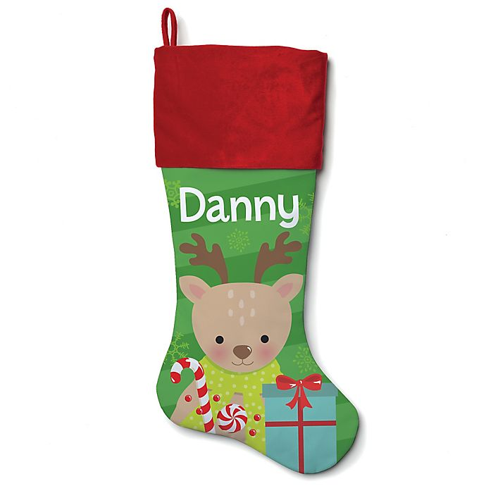 Alternate image 1 for 21-Inch Cotton Reindeer Stocking in Red