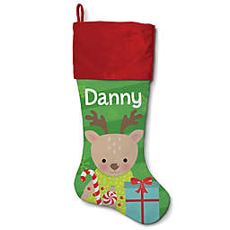 21-Inch Cotton Reindeer Stocking in Red