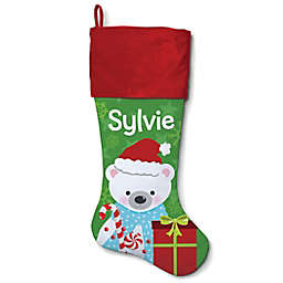 21-Inch Cotton Polar Bear Stocking in Red