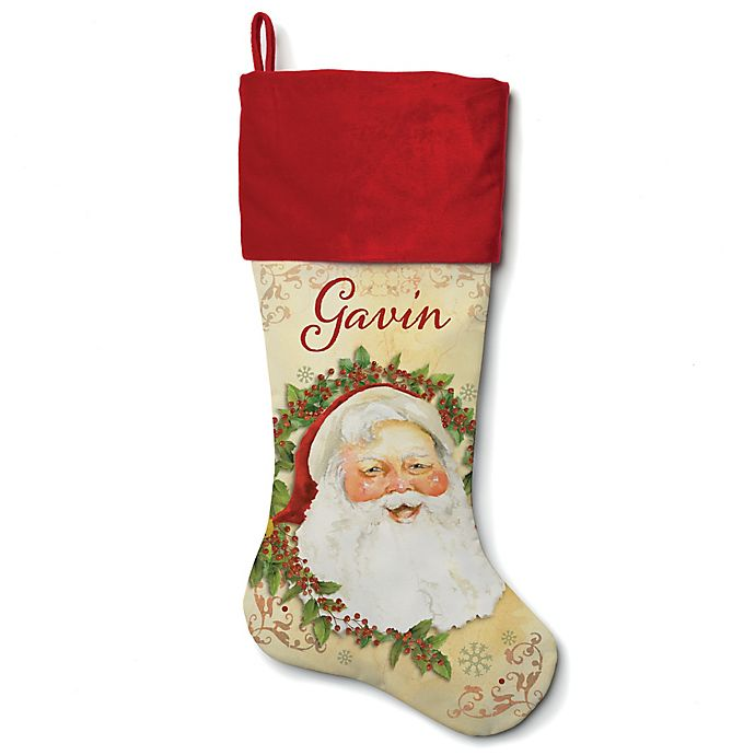 Alternate image 1 for 21-Inch Cotton Happy Santa Stocking in Red