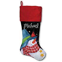 21-Inch Cotton Snowman with a Blue Hat Stocking