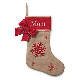 Burlap and Snowflake 20-Inch Christmas Stocking