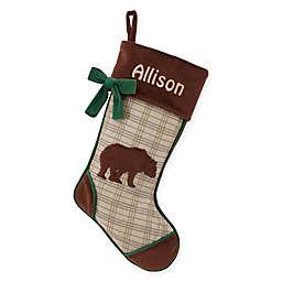 Rustic Woodland 18.5-Inch Bear Christmas Stocking