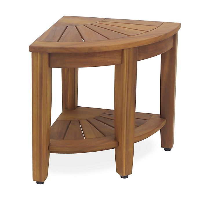 Alternate image 1 for Haven™ Solid Teak Corner Vanity Stool