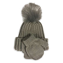 Curls & Pearls Newborn Ribbed Winter Hat in Charcoal with Faux Fur Pom Pom