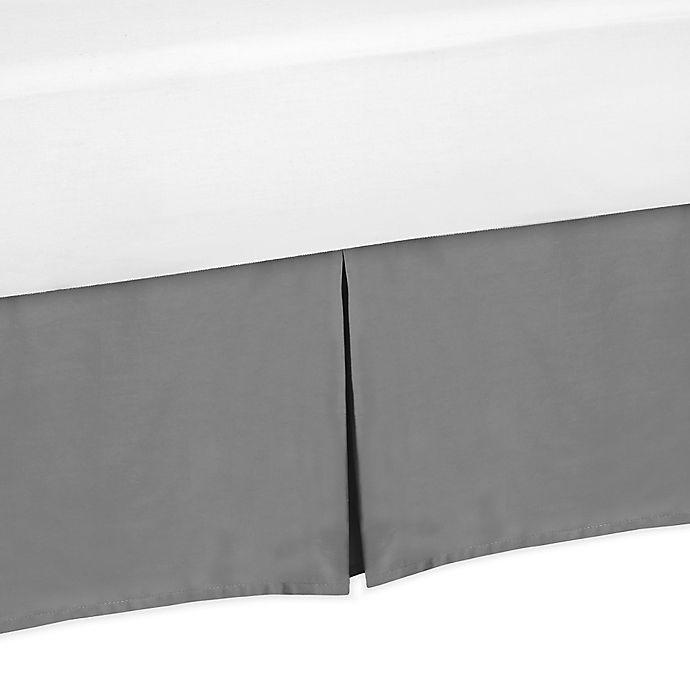 Alternate image 1 for Sweet Jojo Designs Grey and Orange Stripe Bed Skirt in Grey
