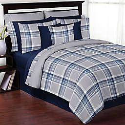 Sweet Jojo Designs Plaid Comforter Set in Navy/Grey