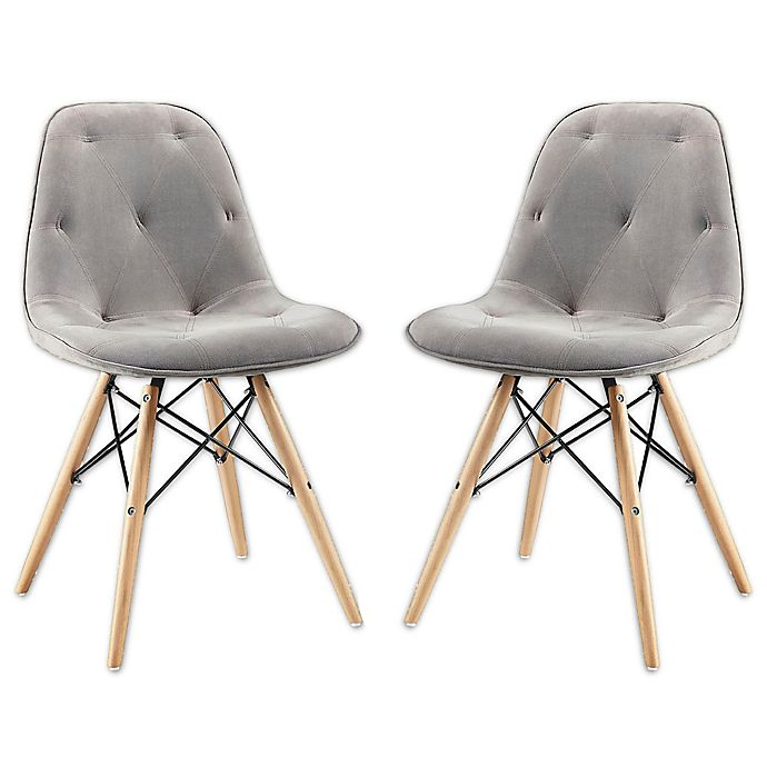 Alternate image 1 for Forest Gate Mid-Century Modern Suede Eames Dining Chair in Grey (Set of 2)