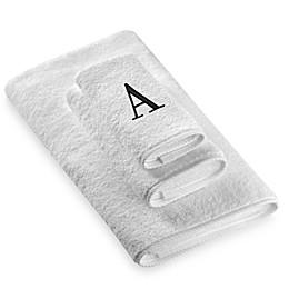 Avanti Black Monogram on White Bath Towels