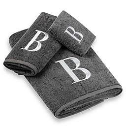 Avanti Premier Silver Block Monogram Bath Towel Collection in Granite