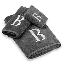 Avanti Premier Silver Block Monogram Bath Towel Collection in Granite